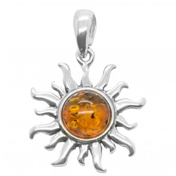 Pendentif en argent et perle d'ambre forme soleil