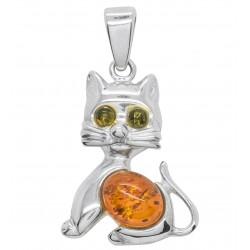 Anhänger Katze grüne Augen Bernstein und Silber