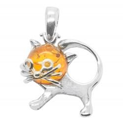 gato colgante en plata y ámbar miel
