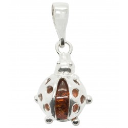Silver Ladybug Pendant with Amber Pearl