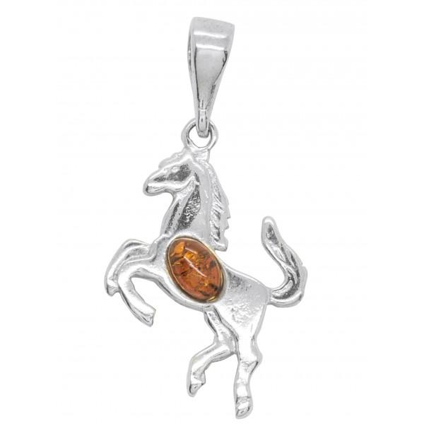 Pendentif Argent en forme de cheval avec perle d'Ambre