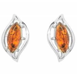 Silver and Amber earring in eye shape