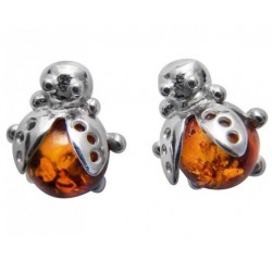 Marienkäfer-Ohrring-Silber und natürliche Bernstein