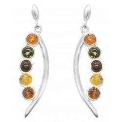 Boucle d'oreille Ambre perle multicolore et Argent 925/1000