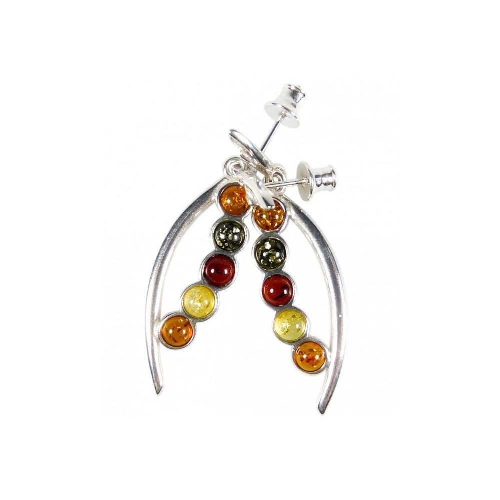 boucle d 39 oreille ambre perle multicolore et argent 925 1000 bijoux d 39 ambre. Black Bedroom Furniture Sets. Home Design Ideas