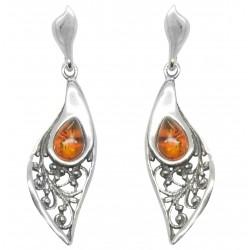 Natur Ohrringe Silber und Bernstein Stein geformtes Blatt