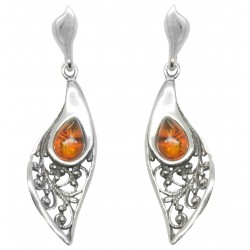 Silver and Amber stone leaf shaped earrings