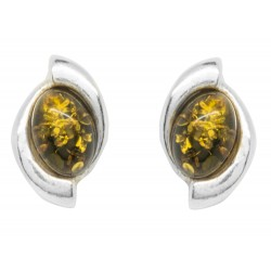 Silver and green amber earring