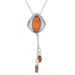 Necklace in silver and amber honey shape cat's eye