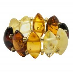 Bague tout ambre multicolore forme losange