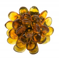 Honey-colored amber ring in the shape of a flower