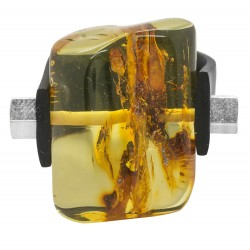 efecto natural Anillo grande ámbar miel