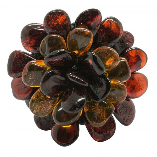 Bague d'ambre en forme de fleur multicouleur