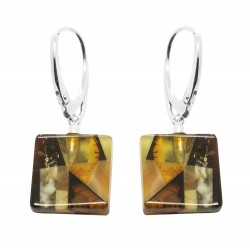Amber Mosaic and Silver Earring - Square Shape