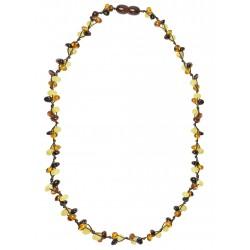 Necklace with multicolored amber pearl trio