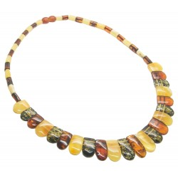 Multicolored Amber Necklace (White, Green and Cognac) Cleopatra