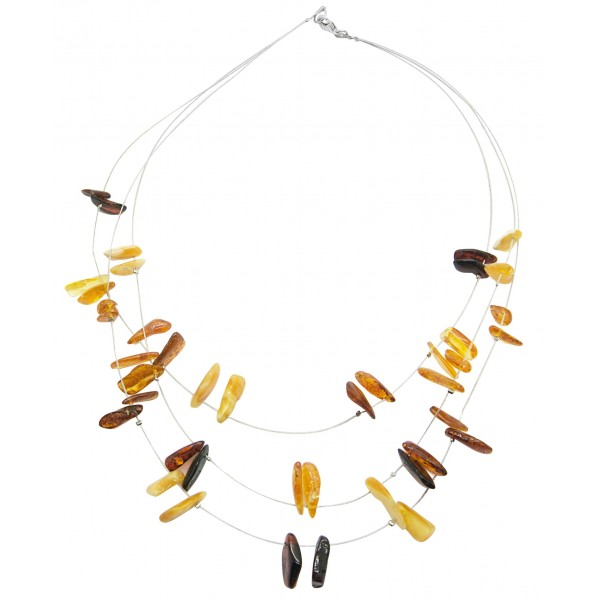 Collier en ambre adulte pierre multicolore