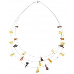 Multicolored amber necklace in the shape of a triangle