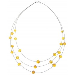Adult amber necklace with round bead on steel cable