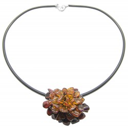 Amber flower necklace / brooch