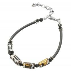 Adult amber cylinder mosaic bracelet