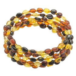 Accordeon bracelet 5 rounds in amber multicolor