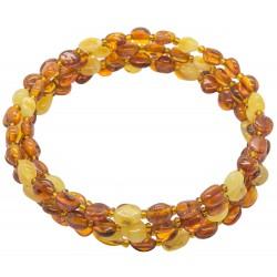 Bracelet Ambre miel et blanc 4 tours