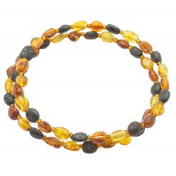 Accordeon bracelet 2 rounds in multicolored amber