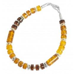 Bracelet ambre multicolore et argent 925/1000