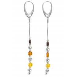 Silver and multi-color amber pearl earring