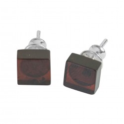 Amber cognac and silver 925/1000 square earring