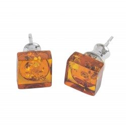Yellow Amber & Sterling Silver Square Earring