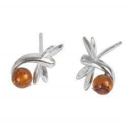 argento libellula orecchino e cognac ambra