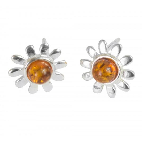 Boucle d'oreille fleur en Argent et Ambre