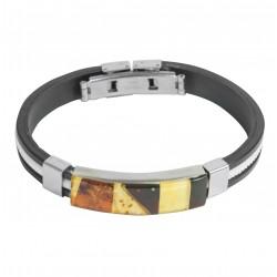 Armband mit mehrfarbigen Bernstein auf Silikon
