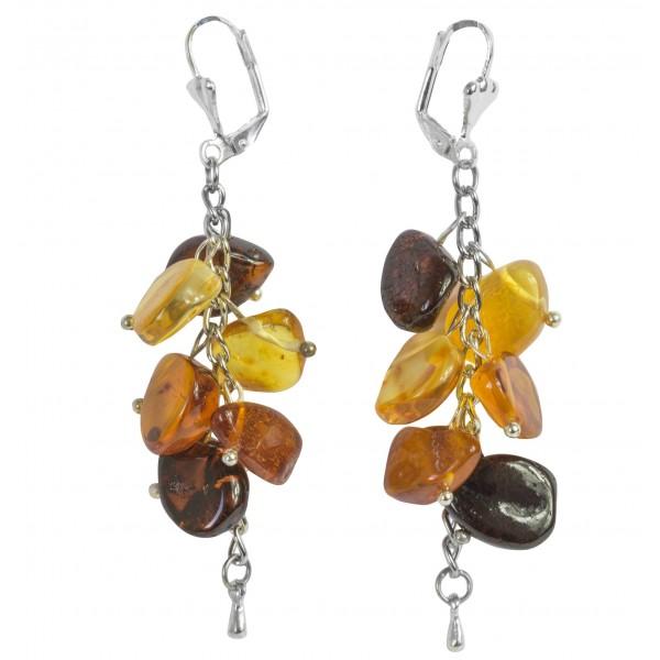 Boucle d'oreille pétale d'ambre multicolore