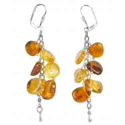Honey amber, Cognac and Royale petal earring