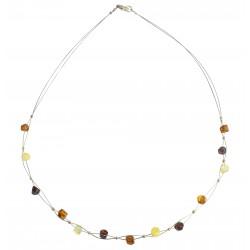 collana di ambra multicolore adulti su cavo d'acciaio