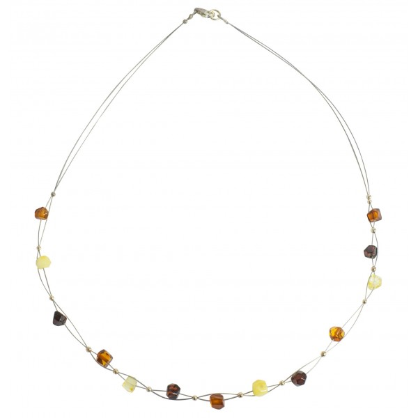 Collier ambre multicolore adulte sur cable d'acier