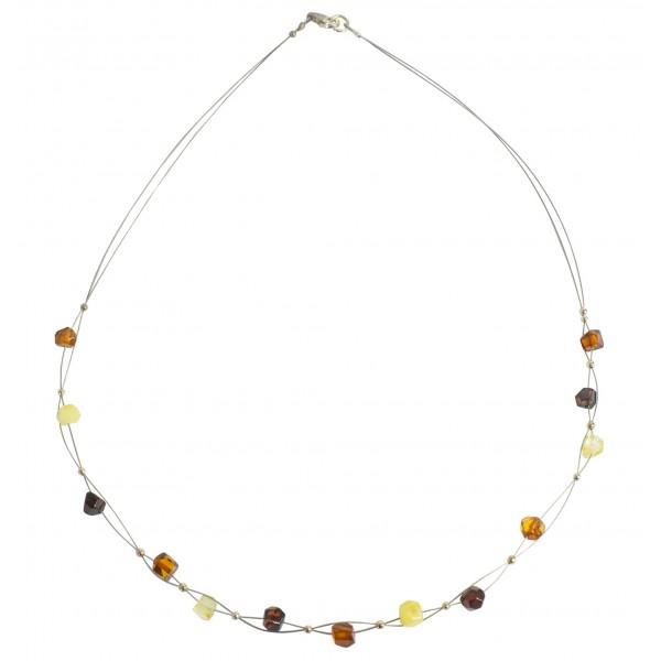 Collier ambre multicolore adulte sur cable d'acier