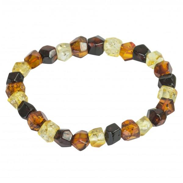 Bracelet d'ambre taillé multicouleur