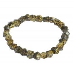 Genuine amber bracelet, cut green amber stone