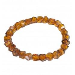 Bracelet d'ambre cognac avec Perle géométrique