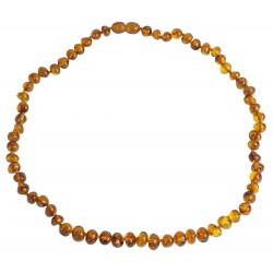 Erwachsene Halskette Bernstein barocke Perle Cognac