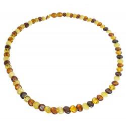 Erwachsene Halskette mit echten Bernstein Taste mehrfarbig