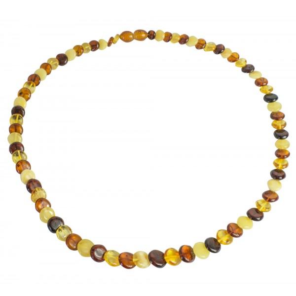 Collier adulte avec bouton d'ambre véritable multicouleur
