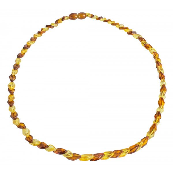 Petit collier adulte ambre bi-couleur (citron et cognac)