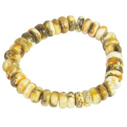 Raw white semi-polished amber bracelet
