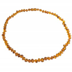 Amber necklace cognac adult pearl round