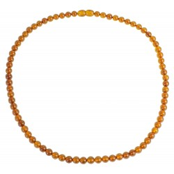 Adult amber necklace cognac color pearl extra round